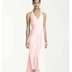 David's Bridal Long Mesh halter petal pink dress